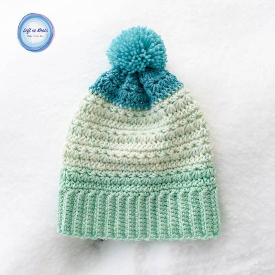 Snow Drops Slouch Hat - free crochet pattern by Megan Meyer at  Left in Knots. With left and right handed videos.