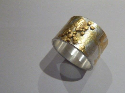 Felicity Peters Ring landscape sg silver 24ct gold granules $355