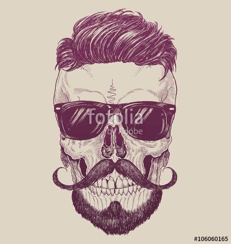 """Laden Sie den lizenzfreien Vektor """"Hipster skull with sunglasses, hipster hair and mustache"""" von tairygreene zum günstigen Preis auf Fotolia.com herunter. Stöbern Sie in unserer Bilddatenbank und finden Sie schnell das perfekte Stockbild für Ihr Marketing-Projekt!"""