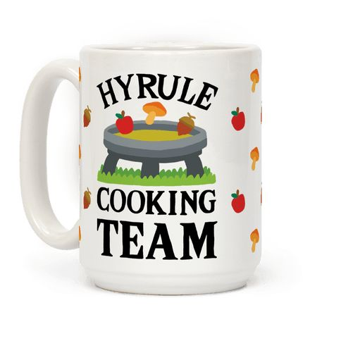 Hyrule Cooking Team - Show off your love of that amazing new Zelda game with this BotW inspired, cooking humor, video game, nerdy gamer coffee mug! Keep running around Hyrule and gathering all those ingredients for that perfect stat boosting meal!