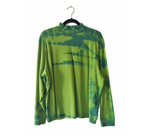 Our very own fabric Maven, Beth Mastrude will be showing off her fabrics and clothing at 17th Avenue Studios Spring Show. They are to simply dye for.  This is an: Oversized Green Turtleneck - 2XL - Womens Turtleneck - Girls Turtleneck - Comfortable  - OOAK Shirt - Blue Indigo Dyed - Free Shipping