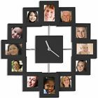 NEW BLACK 12 MULTI PHOTO FRAME PICTURE WALL CLOCK PERFECT GIFT FOR FAMILY TIME