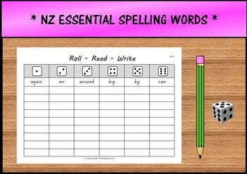NZ Essential Spelling Words from Lists 1-8 An fun activity to practise spelling words.How it works: This activity can be done independently or in a group with others.  Each person has one sheet of paper with words from the spelling list they are currently working on.
