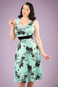 TopVintage Exclusive ~ 50s Veronique Floral Swing Dress in Mint