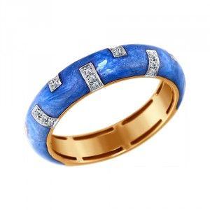 Синее кольцо с эмалью с бриллиантами