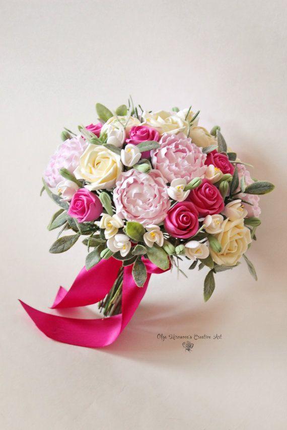 Alternative wedding bouquet Keepsake Bridal bouquet Pink Fuschia wedding bouquet Peony roses Wedding clay bouquet Ivory Pink Fuschia bouquet