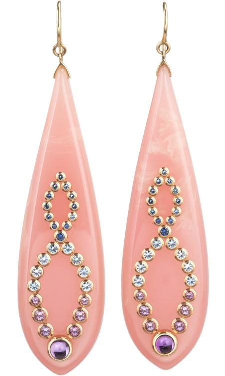 Mark Davis Bakelite, Amethyst & Sapphire Earrings