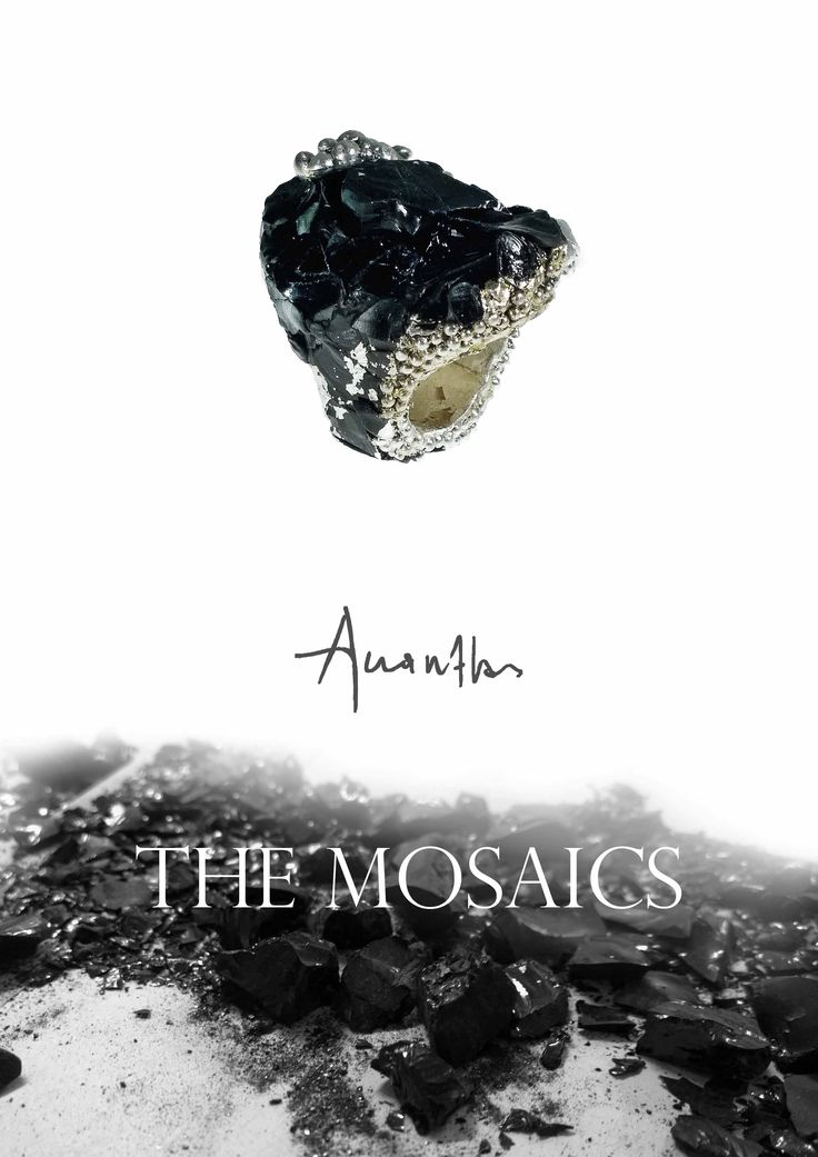 the Mosaics Ring, Resin,Obsidian, bronze - Silver plated www.akanthos.co