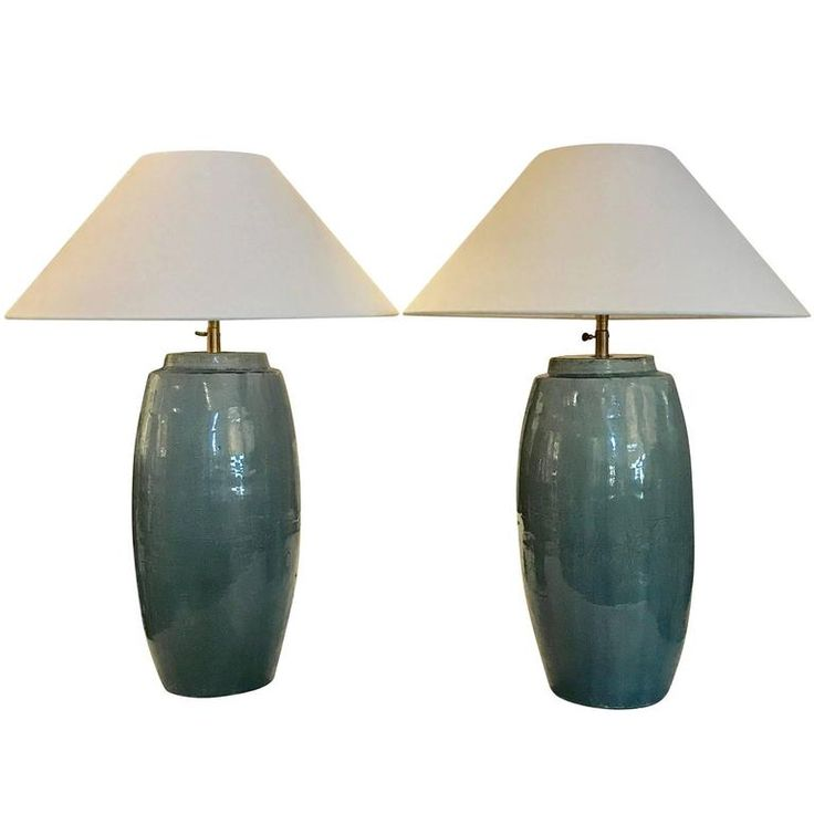 Pair of Washed Turquoise Lamps, China, Contemporary 1