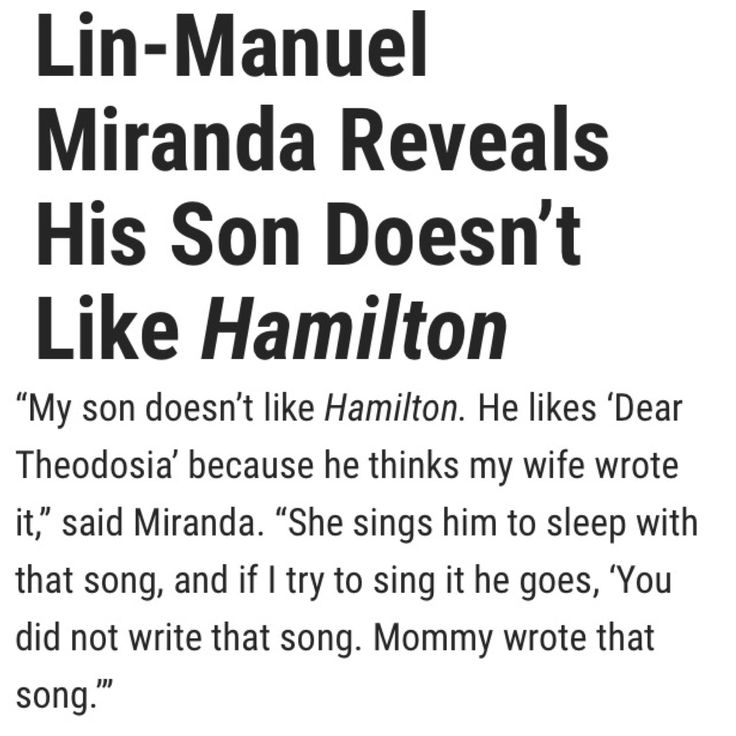 Awww! Sebastian, come on man! You gotta love Hamilton.