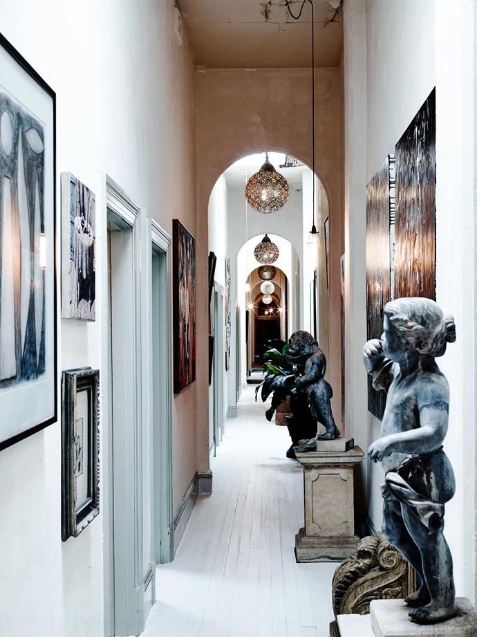 The 63-metre-long hallway hosts French cupids, Indian lights, a McLean Edwards drawing and a Clinton Nain painting.   | Photo: Mark Roper | Story: Belle