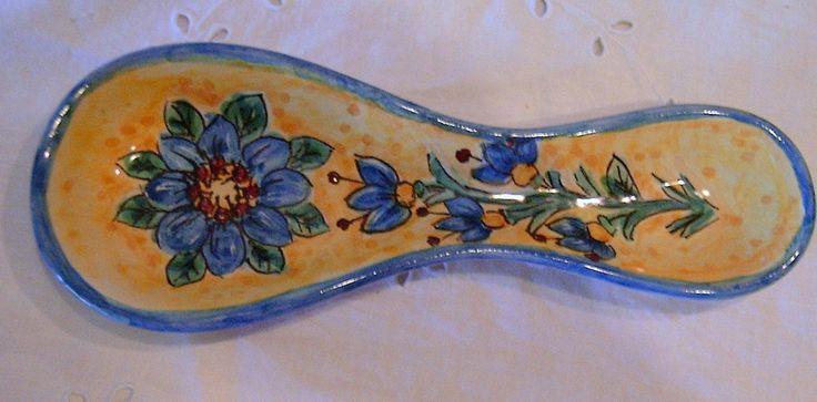 "Poggiacucchiaio in ceramica.Dipinto a mano decoro ""Floris""., by ilciliegio, 9,00  su misshobby.com"