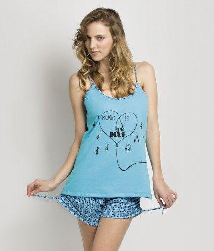 #Pijama musculosa estampado #Mariene. Negro - Turquesa  #CuencaTextil