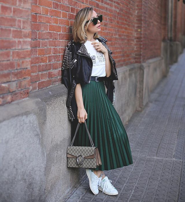 Pin for Later: 12 Subtle Green Outfit Ideas Perfect For St. Patrick's Day Pair a Dark Green Skirt With a White Tee, a Leather Jacket, and White Sneakers