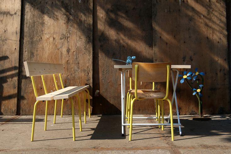 Industrieel Vintage Schoolstoelen geel frame grote partij | Dehuiszwaluw