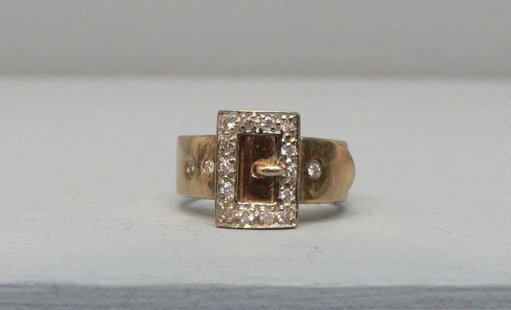 Impressive Antique 14k Rose Gold Belt Buckle Diamond Ring Size 3 1