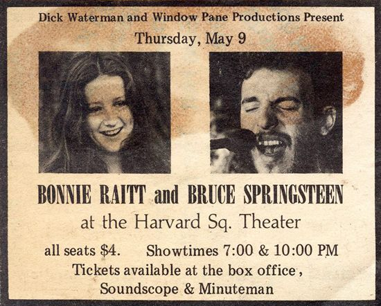 "Original ad for the Bonnie Raitt/Bruce Springsteen show that inspired Jon Landau to write that ""I have seen the future of rock and roll, and its name is Bruce Springsteen."""