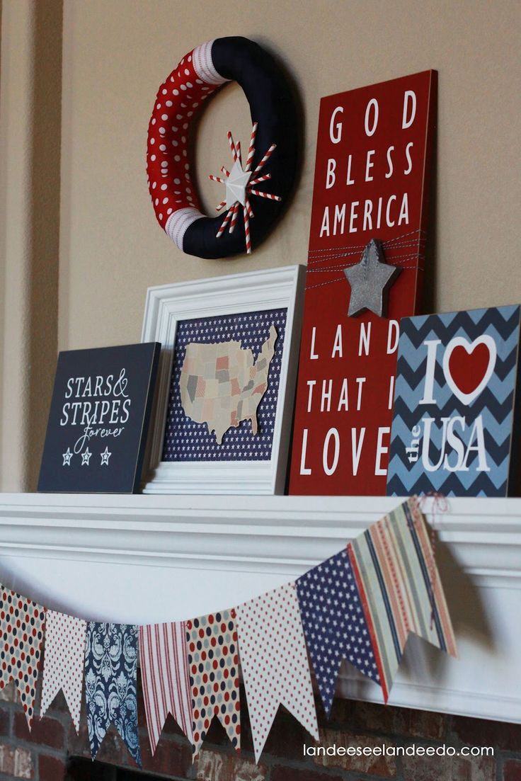 4th of July Mantel: 4Thofjuly, July Mantle, Red White Blue, 4Th Of July, July 4Th, July Ideas, July Decor, July Mantel