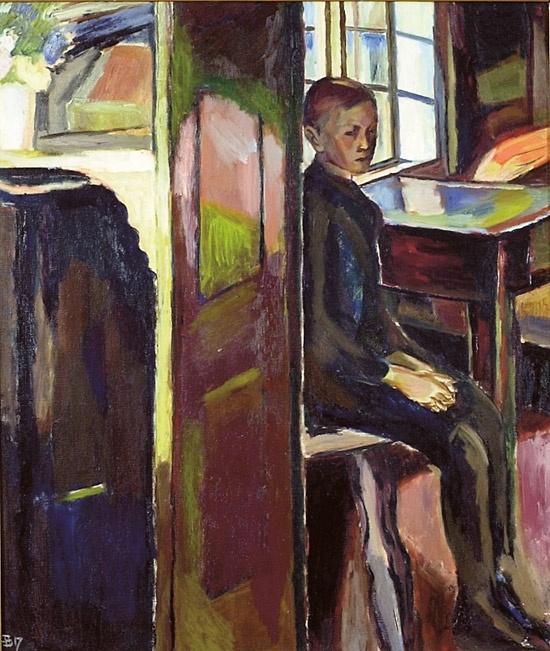 Sørensen, Henrik (1882-1962) Gutt i interiør 1917 (1917)