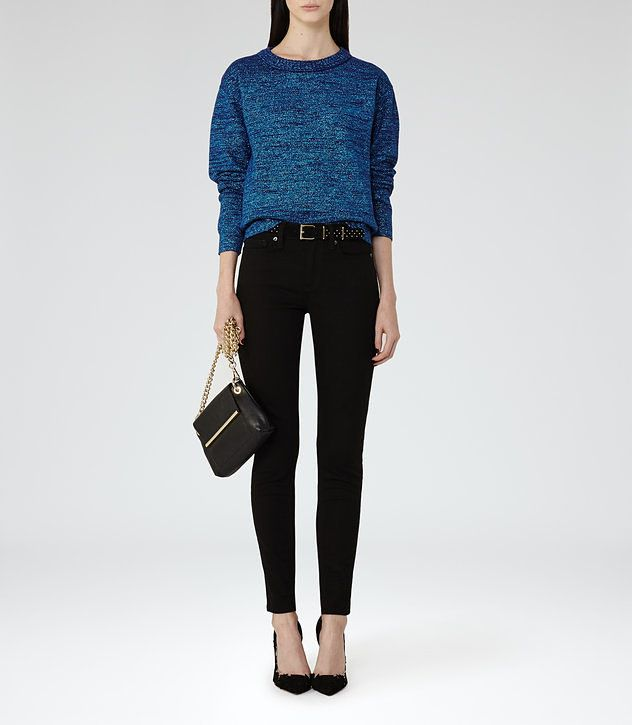 Richelle Blue Metallic Metallic Jumper - REISS