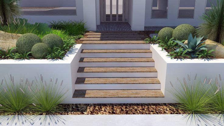 Modern Native Landscape Design - Lockleys Project Front Entry