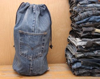 Items similar to denim backpack upcycled jeans backpack big navy blue drawstring bucket bag 90s grunge hipster backpack eco friendly recycled repurposed on Etsy