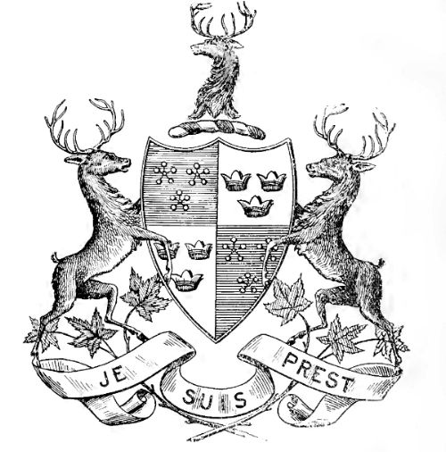 """#Scotland #Outlander Clan Fraser Arms Je Suis Prest, """"I Am Ready"""" [The white flowers stand for honor, the red fruit for courage and the green leaves for constancy]"""