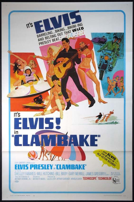 Clambake is a 1967 American musical film directed by Arthur H. Nadel and starring Elvis Presley, Shelley Fabares, and Bill Bixby. Written by Arthur Browne Jr., the film is about the heir to an oil fortune who trades places with a water-ski instructor at a Florida hotel to see if girls will like him for himself, rather than his father's money. Clambake was the last of his four films for United Artists.[1] The movie reached no. 15 on the national weekly box office charts. #25