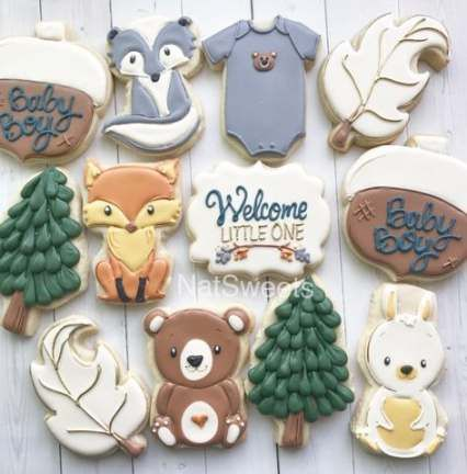 Super baby shower woodland theme cookies Ideas