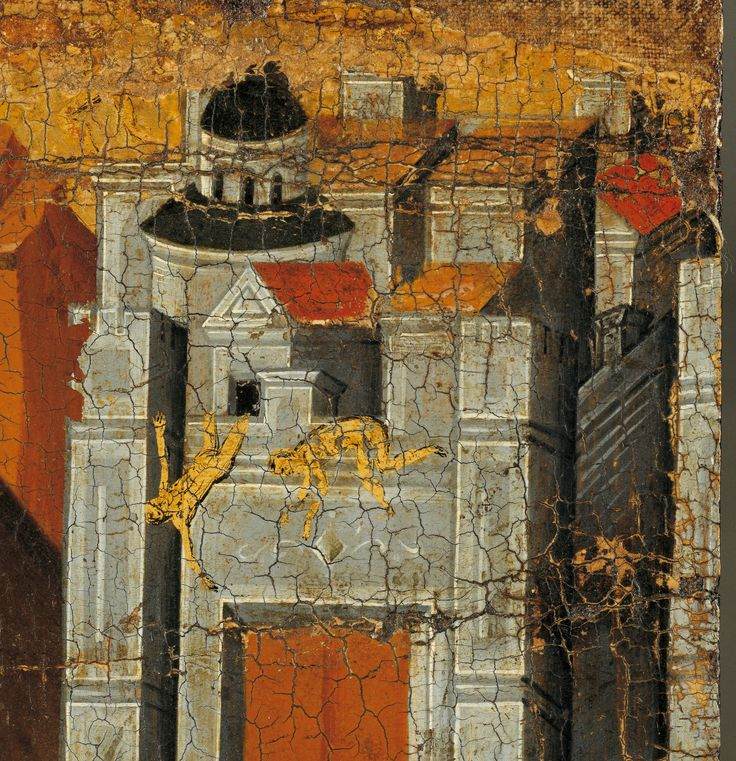 Detail. The Flight into Egypt, an icon of Cretan workmanship dated to the second half of the 15th c. The naked figures falling from the walls of the city symbolise the destruction of the idols during the Entry of Jesus into Jerusalem, as related in the Akathistos Hymn. Benaki Museum