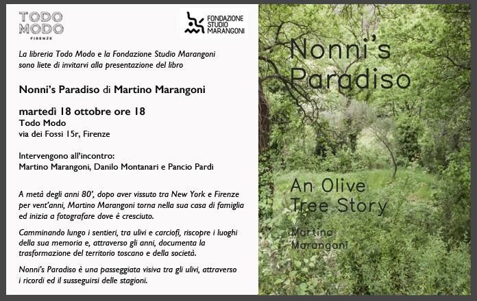 """Presentazione del libro """"Nonni's Paradiso"""" di Martino Marangoni martedì 18 ottobre ore 18 Todo Modo (via dei Fossi 15r, Firenze)"""