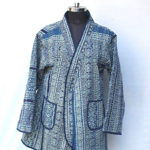Indian Style Quilted Cotton Jacket Hand Block Print,Boho wrap Quilted Reversible Jacket