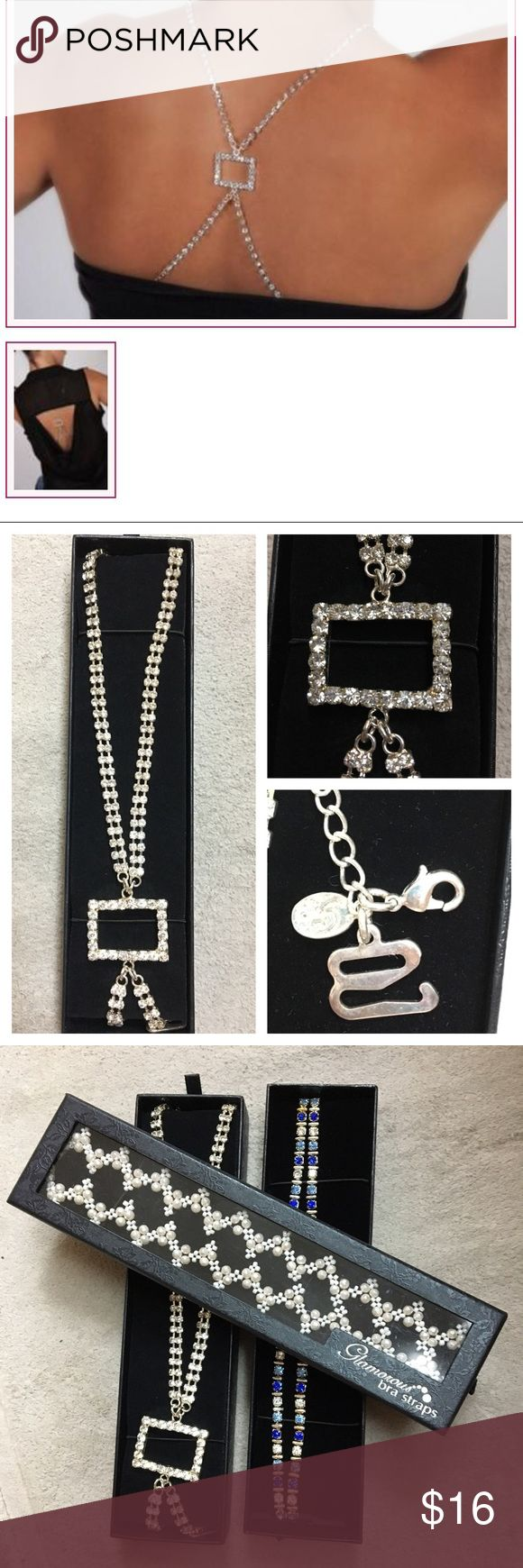 Jeweled Bra Straps New In Box - rectangle crystal Tired of your straps showing? Not anymore! Replace your bra's boring straps with these cross-cross crystal jeweled straps for a beautiful look. Actual Straps are in the second pic. Nickel free :) Jewelry