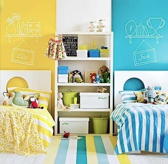 bright colors divide kids shared room bedrooms pinterest