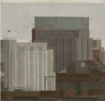 Nick Mourtzakis - Paper mill, 2005, oil on linen, 56 x 61cm