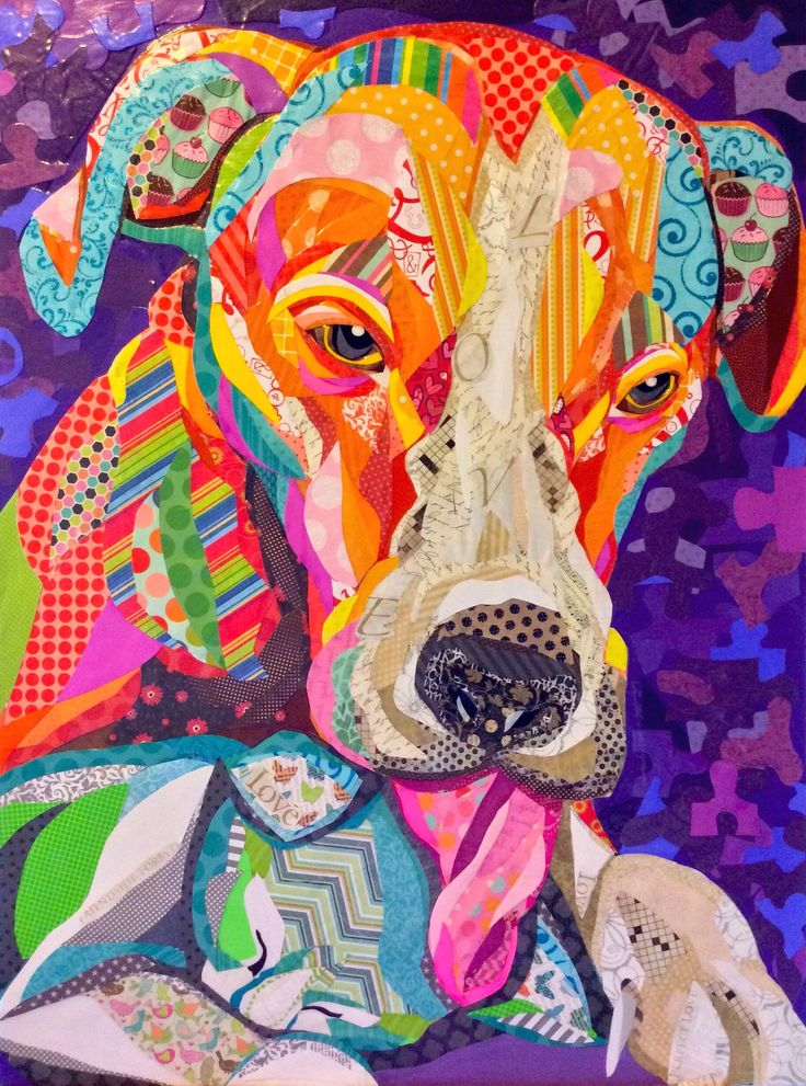 """Cut paper Collage art on 24""""x32"""" board, """"Love Is Blind"""" by Laura Yager. Cat dog artwork♥♥"""