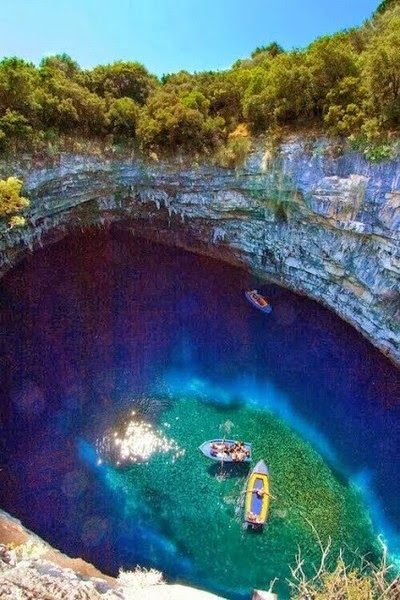 Melissani Cave, Kefalonia - Greece -  - Explore the World with Travel Nerd Nici, one Country at a Time. http://TravelNerdNici.com