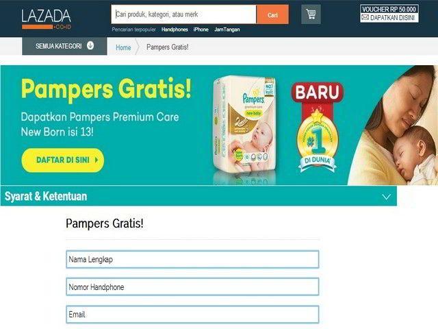 sample gratis pampers dari lazada