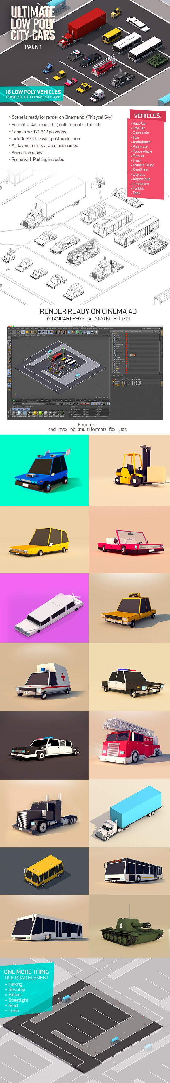 Ultimate Low Poly City Cars Pack 3D Models Design Template #cinema4d #3D #3dDesign Download here: https://3docean.net/item/ultimate-low-poly-city-cars-pack/16699697?ref=yinkira
