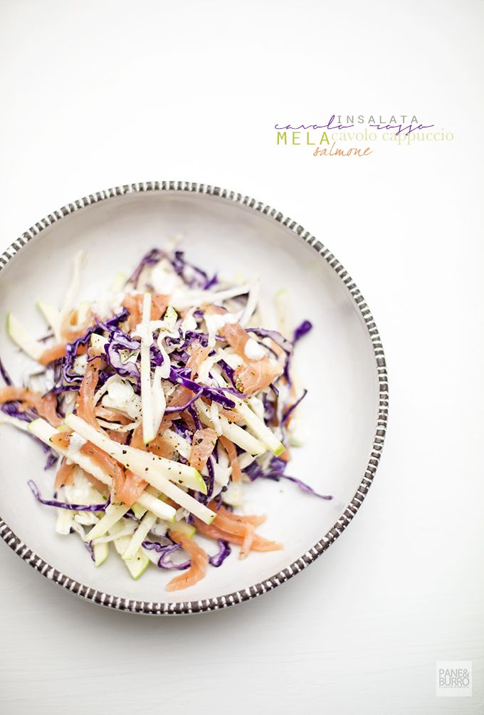 cabbage, green apple and salmon salad with lime, dill and yogurt dressing www.pane-burro.blogspot.it