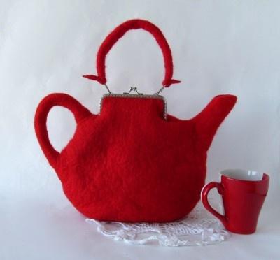 Felted purse teapot red handbag