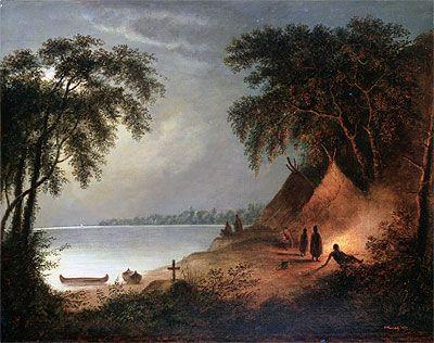 Cornelius Krieghoff | Indian Burial,  Cornélius Krieghoff Follow the biggest painting board on Pinterest: www.pinterest.com/atelierbeauvoir