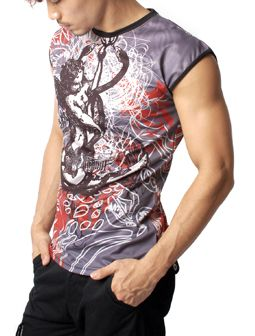 Rod of Asclepius Angel Design Crewneck Sleeveless Tank Top Tee