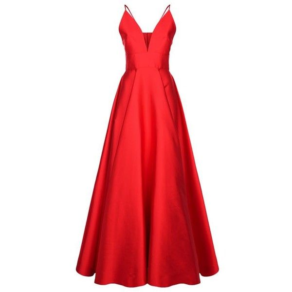 La Mania Silk Camisole Floor Length Gown ($3,180) ❤ liked on Polyvore featuring dresses, gowns, formal gowns, silk gown, floor length gowns, red formal evening gowns and red formal dresses