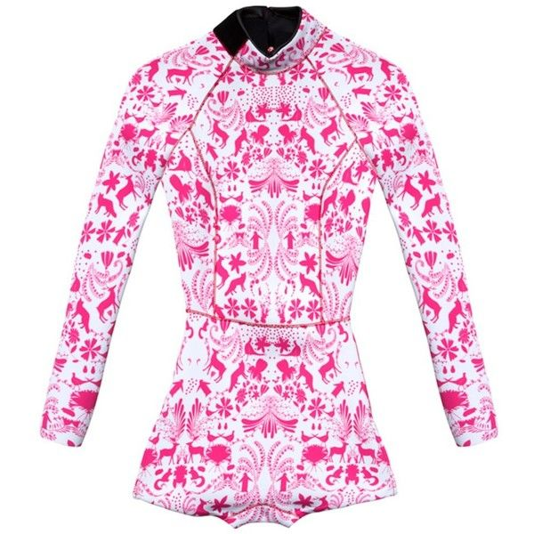 Cynthia Rowley Printed Wetsuit W/ Zip Side ($295) via Polyvore featuring bright pink
