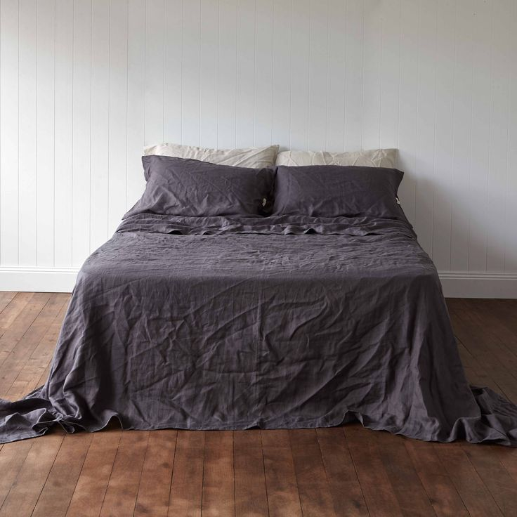 Volcanic Ash Charcoal Pure Linen Quilt Flat Sheet by Montauk Style