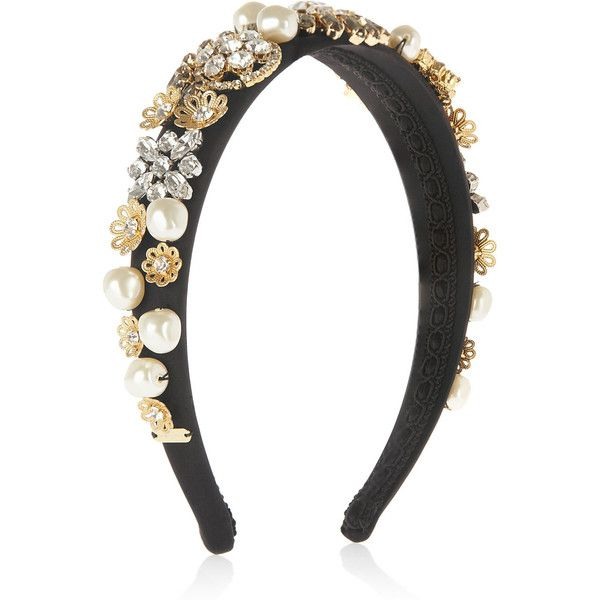 Dolce & Gabbana Embellished silk-satin headband ($1,875) ❤ liked on Polyvore featuring accessories, hair accessories, headband, hair, dolce & gabbana, head, clear headband, floral headbands, hair bands accessories and embellished headbands