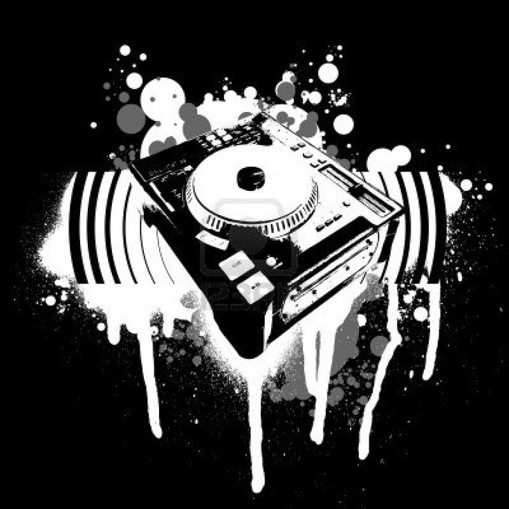Dj Turntable Drawing Graffiti Black And Quot One Day You Ll