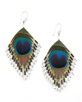 Take me to a music festival earring, Lee Angel $50: Peacock Feathers, Feathers Earrings, Peacocks, Earrings Amyesperstyl, Lee Angel, Earrings 50, Accessories, Neiman Marcus, Angel Peacock
