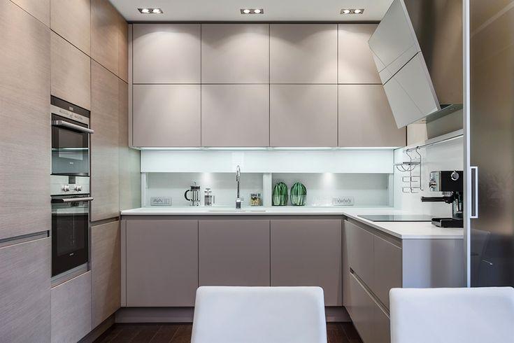 Small minimalist kitchen interior design in white color - Stylish and Elegant Apartment in Monaco